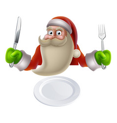 Santa eating christmas dinner food vector