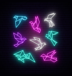 set colorful neon geometric dove flying pigeon vector image
