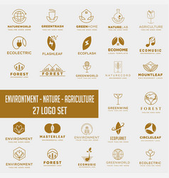 Set environment agriculture logo with gold vector