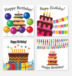 set of four greeting cards with sweet cake vector image