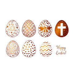 set of hand-drawn white and chocolate ornated vector image