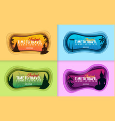 set of thailand banners time to travel paper cut vector image