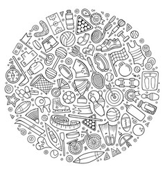 Set sport cartoon doodle objects vector