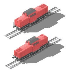 shunting diesel locomotive isometric low poly icon vector image