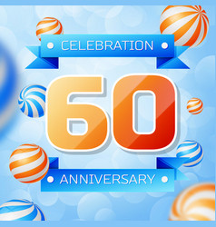 sixty years anniversary celebration design vector image