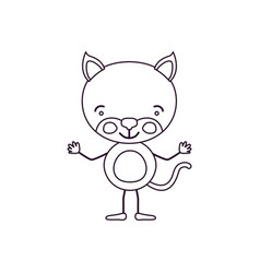 sketch contour caricature of cute kitten vector image