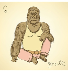 Sketch fancy gorilla in vintage style vector image