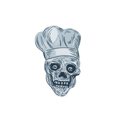 Skull Chef Cook Drawing vector image