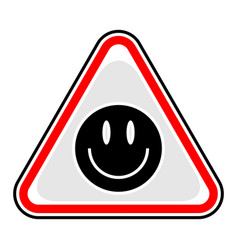Smiley face sign triangular sticker vector