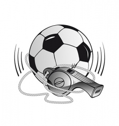 soccer ball and whistle vector image