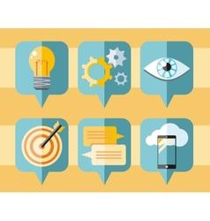 Speech bubble icon set of business elements vector image