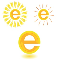 Sun in yellow with letter e vector