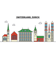 Switzerland zurich city skyline architecture vector