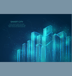 technology city background building shapes smart vector image