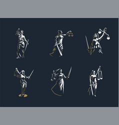 The goddess of justice themis set vector