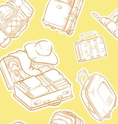 Travel Suitcase Bag Sketch Seamless Pattern vector