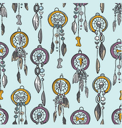 trendy sacred esoteric dreamcatcher seamless vector image