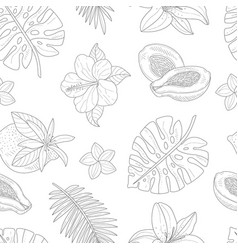 tropical plants and flowers seamless pattern hand vector image