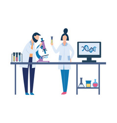 two scientists in science laboratory doing vector image