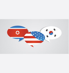 us america south and north korea flags on glossy vector image