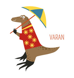Varan lizard cartoon south east asia animal vector