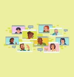 video conference screen with group people vector image