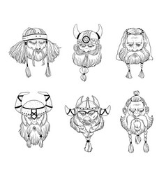 viking varangian warriors head set hand drawn vector image
