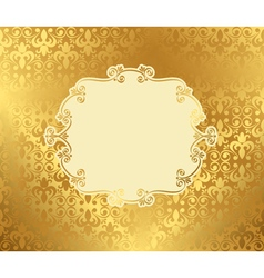Vintage frame on damask background golden vector image