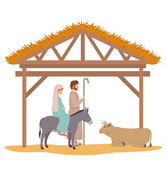 Virgin mary and saint joseph in stable with vector