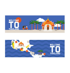welcome to thailand set banners traditions vector image