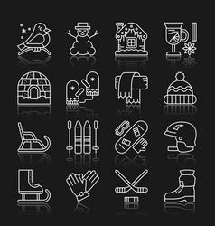 winter sport activity outdoor thin line icon set vector image