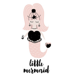 with little mermaid in vector image