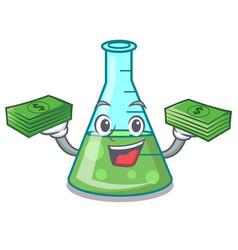 With money science beaker mascot cartoon vector