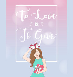 woman holding gift box frame with copyspace vector image