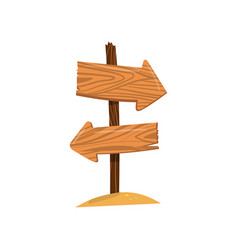 Wooden arrow sign post right and left direction vector