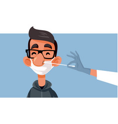 young man swabbed for a covid-19 test vector image