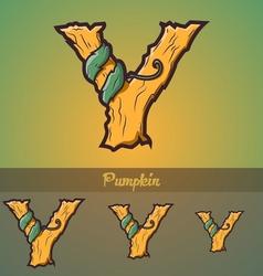 Halloween decorative alphabet - Y letter vector image
