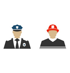 police officer and firefighter flat icon vector image