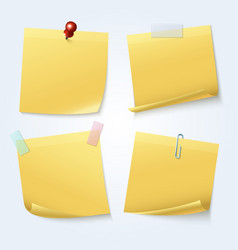 sticky note pages yellow papers set vector image vector image