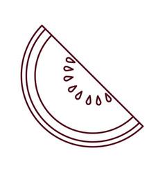 watermelon slice fruit line vector image
