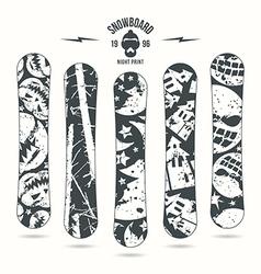 Halloween print for snowboard vector