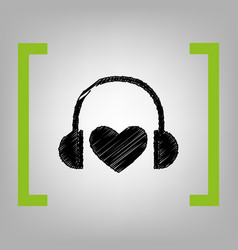 headphones with heart black scribble icon vector image
