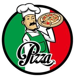 Italian chef with pizza vector