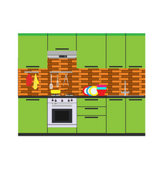 kitchen interior room home furniture flat vector image vector image