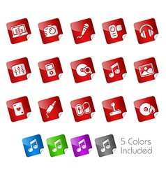 Media Entertainment Stickers vector image vector image