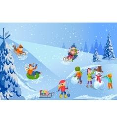 winter landscape happy vector image vector image