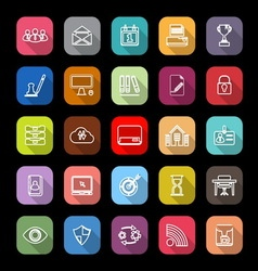 Business management line icons with long shadow vector image