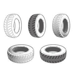 Car tire rubber wheel set vector image vector image
