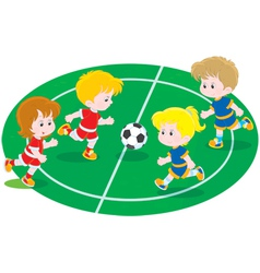 Children playing football vector image