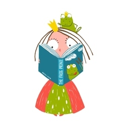 Clever little princess reading fairy tale with vector